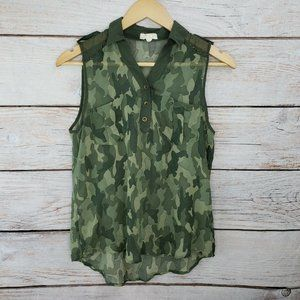 Pearl Brand Sheer Camouflage Tank Top Blouse